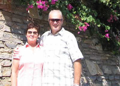 Mike and Lesley suffered bad sea legs and needed each other's support  on land