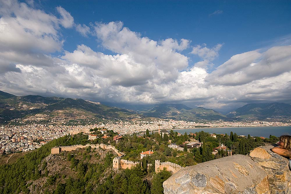 Alanya, on the south central Turkish coastline, surrounded by the Taurus Mountains
