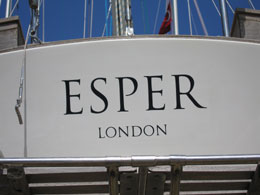 Transom displaying official name and port
