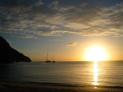 Sunset between the Pitons, St Lucia