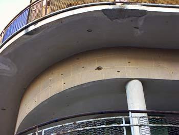 Bullet holes in a building in Ledra Street