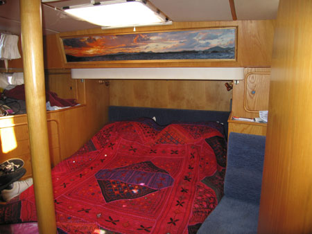 Aft cabin showing Al's oil painting of Bodrum sunset