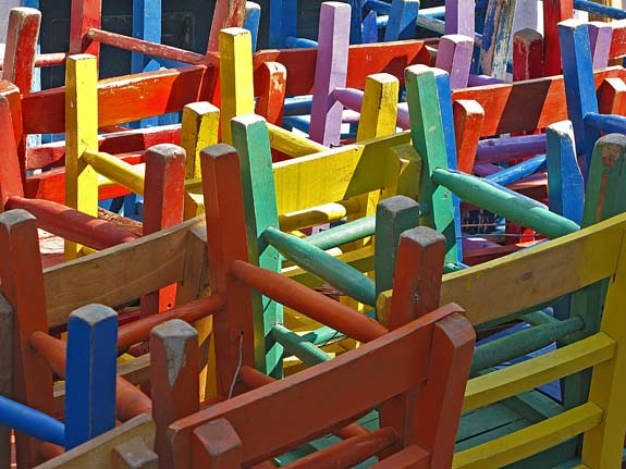 Chairs. Lots of them. Different colours 'n all.