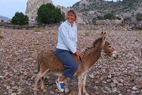 Liz on the same poor donkey