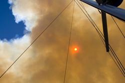 The sun through smoke