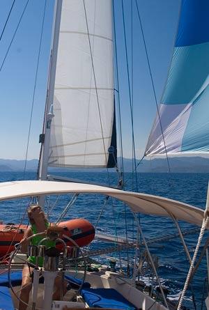 Liz keeping an eye on the mizzen stay-sail