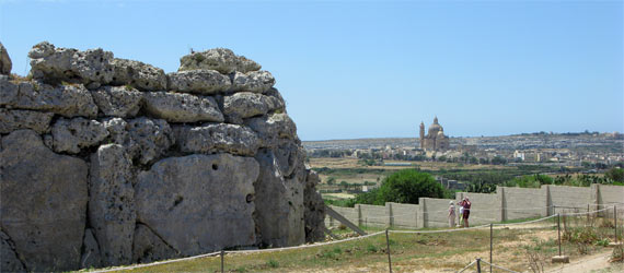 The ancient Ggantija Temple with Rotunda in the distance Source: Liz Cleere