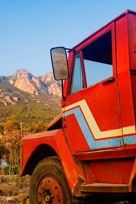 A truck and a mountain