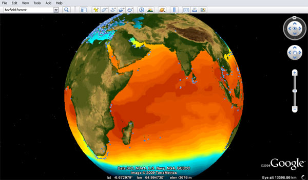 Sea surface temperatures across the Indian Ocean