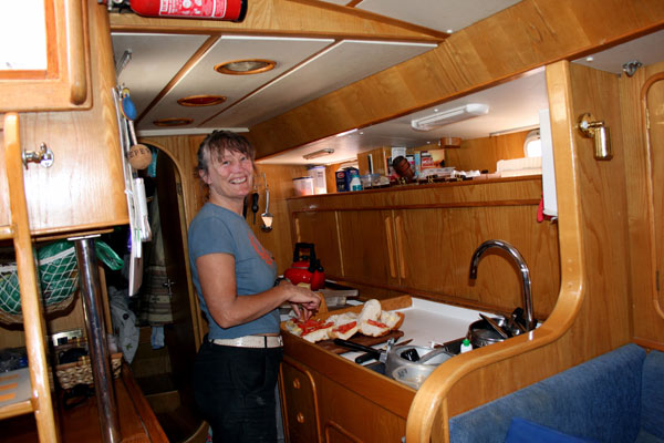 Happy in the galley too