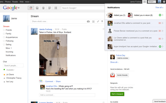 Google+ interface