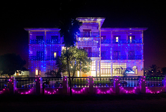 The marina hotel, lit up for a big wedding.