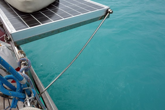 Bent solar panel support... but still operational. Unlike the solar panels themselves!