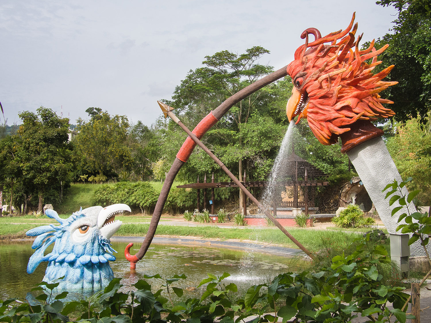 Strange creatures in the park at Kuah