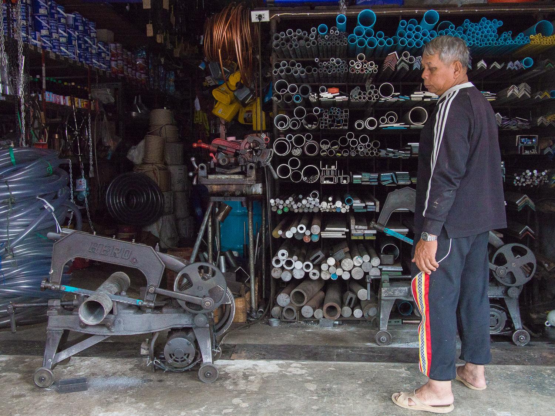 Mechanical pipe cutter in Satun, Thailand