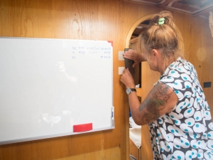 Liz pins up two veneer samples by our new white board