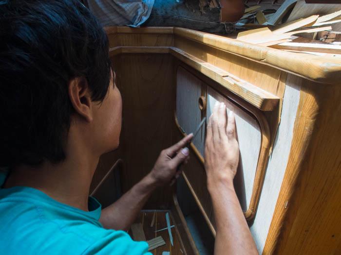Removing the old veneer