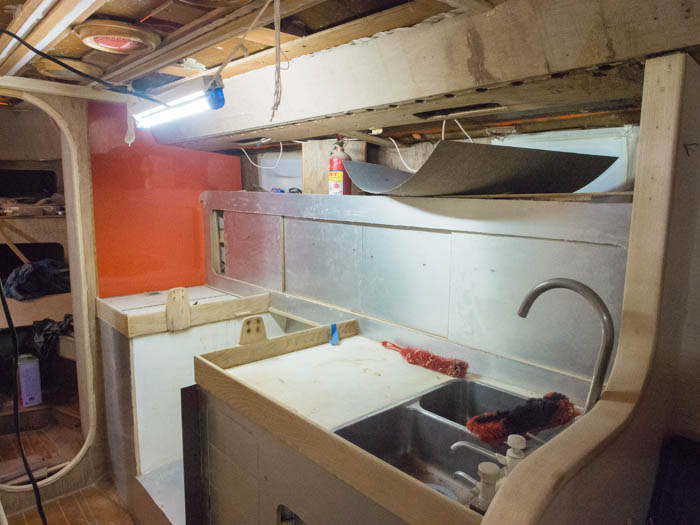 The Formica in the galley