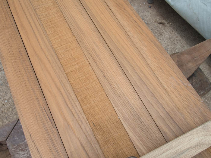 Our new teak toerail sliced into lengths