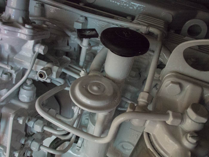 A newly painted Perkins Prima M60 engine in Awlgrip Matahorn