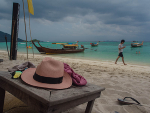 A hat takes a rest as a storm brews in Ko Lipe, Thailand