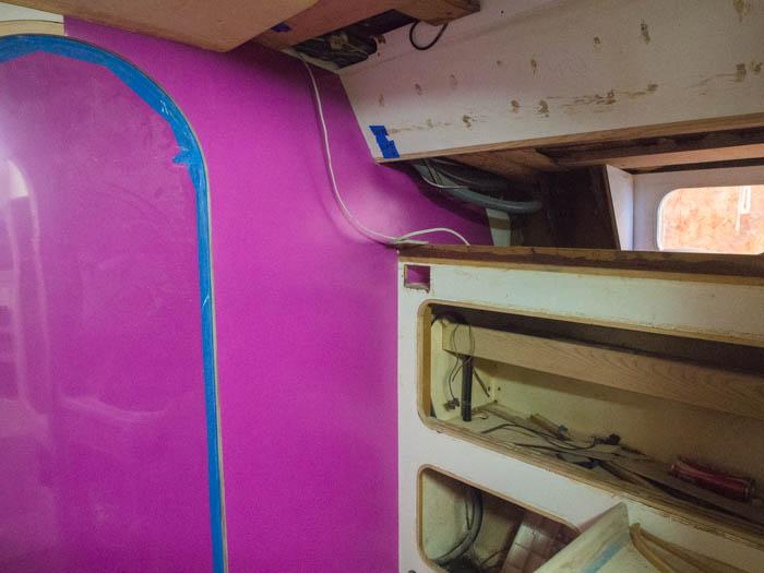 Wilson Art purple laminate in boat heads / toilet