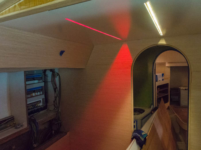 LED strip lighting in the chart table area including a red night-light
