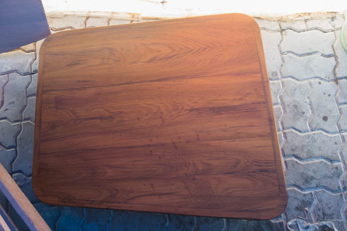 Teak dining table for the saloon with varnish