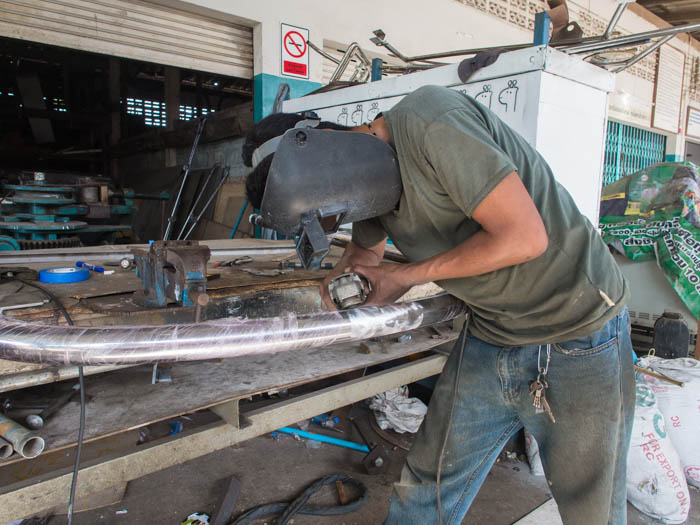 The weld is ground back