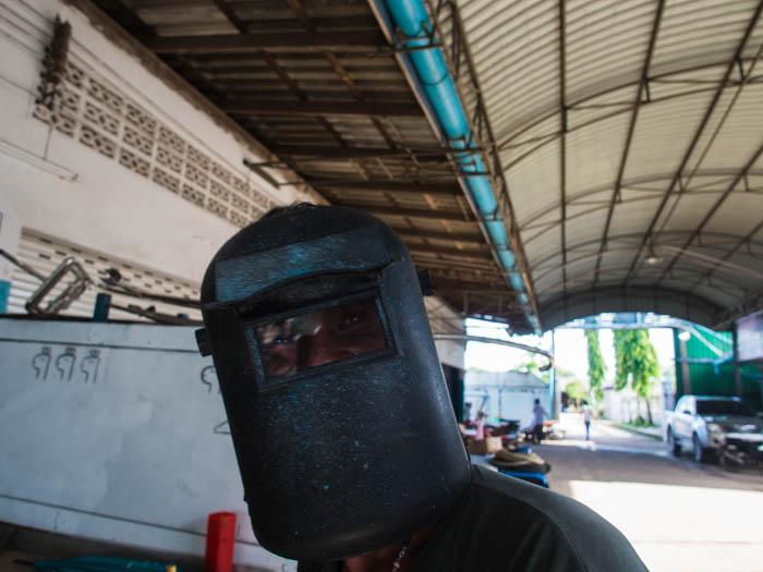 Yoong prepares to weld