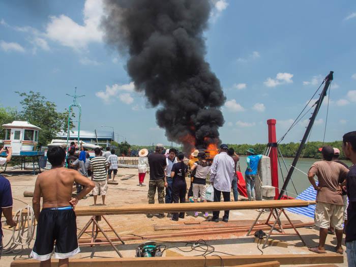 Fishing boat catches fire at Chebilang, Thailand