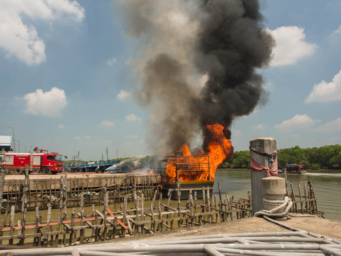 Fishing boat catches fire