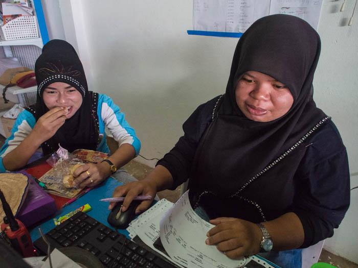 Muslim girls working at PSS Boatyard supply shop