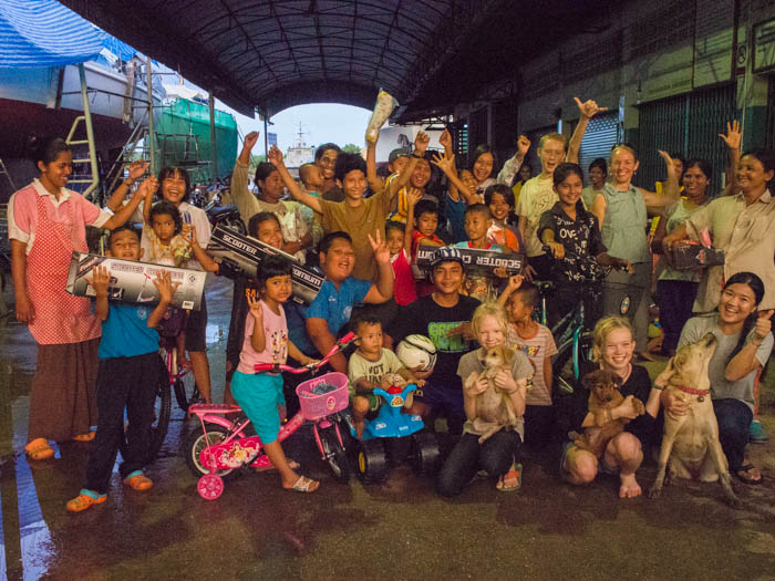 Workers and children from PSS Shipyard Satun