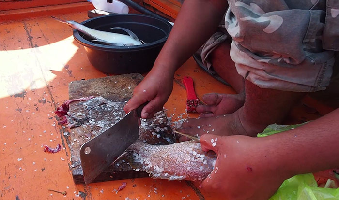 Preparing red snapper on board the Thai fishing boat