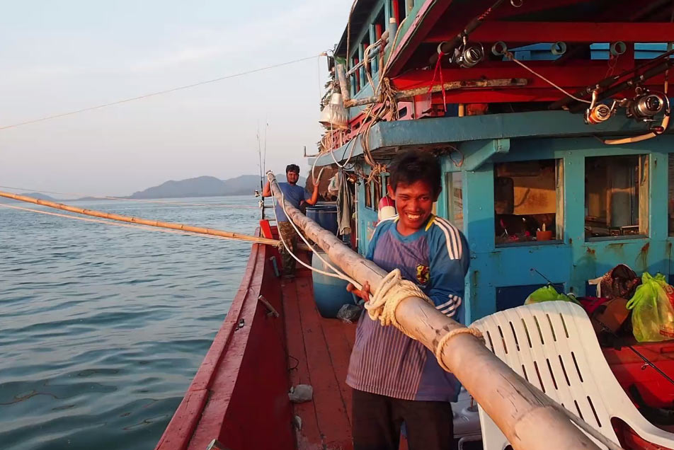 Thai fishing boat outriggers