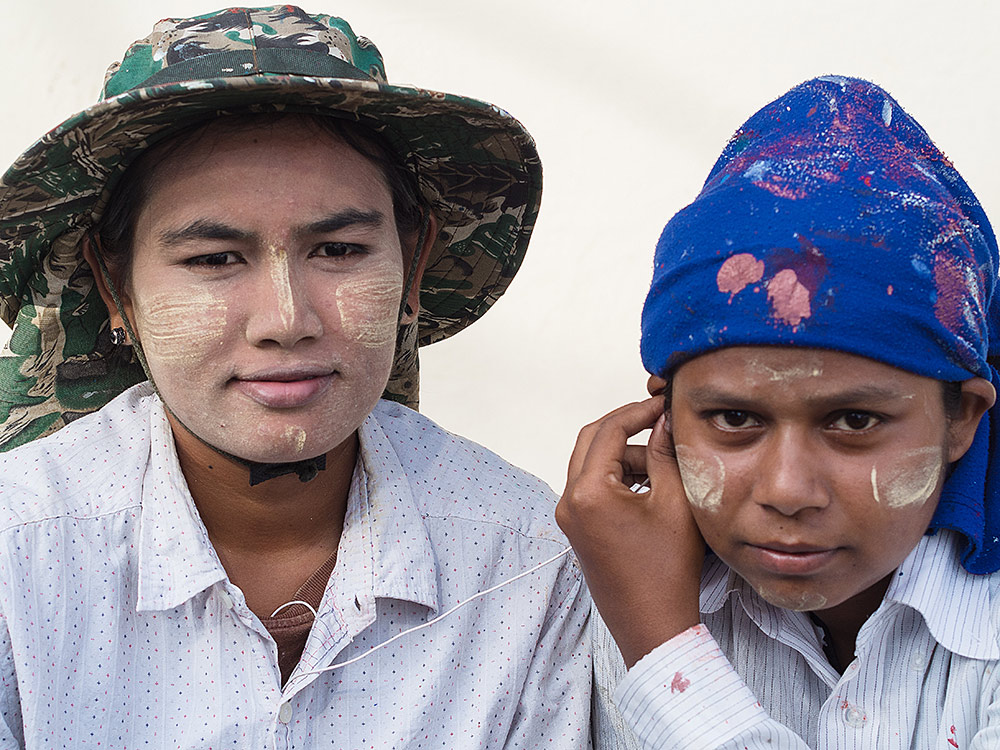 Two Burmese workers in the boatyard