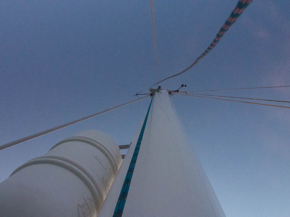 View taken from the second spreaders, two thirds up the mast