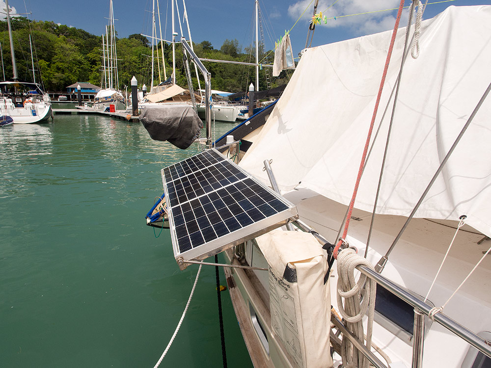 Solar panels in horizontal position on pushpitSolar panels in horizontal position on pushpit