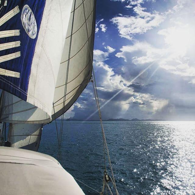 Land in sight aboard sy Esper. Andaman Sea, Southern Thailand.#thailand #followtheboat #adventure #sailingadventure #sailingboat #sailing #travel #yachtlife #boatlife #boat #cloudscape #cloud #sunrise