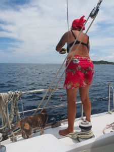 Liz Cleere fishing off the side of Esper in Thailand
