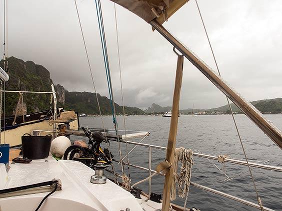 At anchor in Ton Sai Bay, Phi Phi, looking north