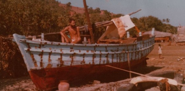 December 1980 - the refit is progressing well - in the right of the picture is one of the wooden trawlers built there and covered with coconut thatch - skilled shipwrights were easy to find there