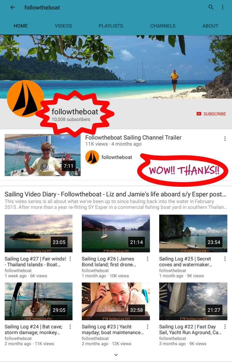followtheboat youtube 10000 subscribers