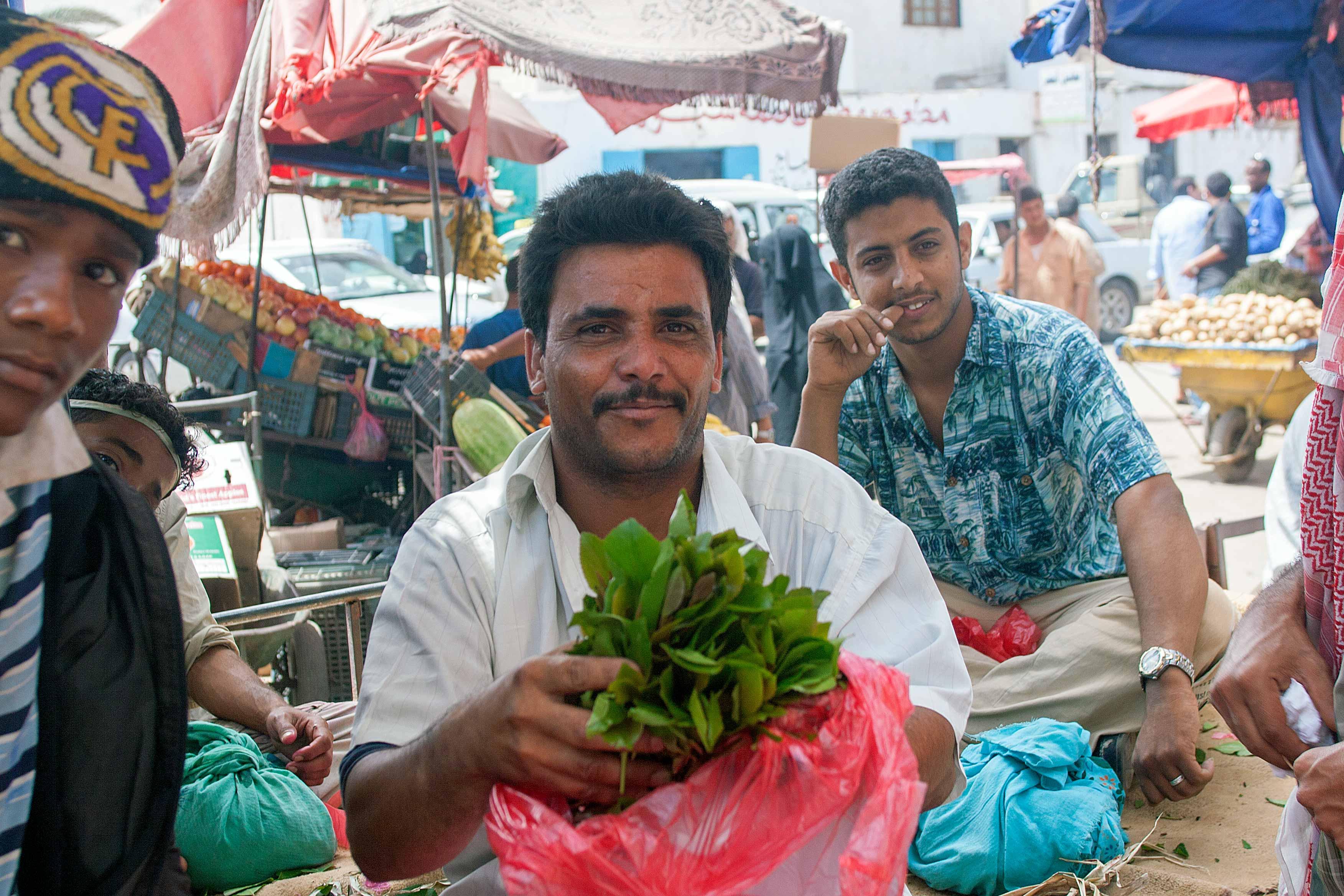 Khat vendor in Aden, Yemen (2011)